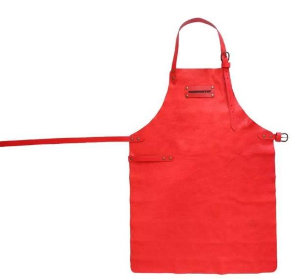 BESC0492 Grill Schürze aus Leder rot Gr.1 ohne Taschen