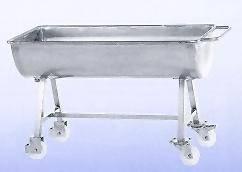 AMME0011 Mengmulde 150 L CNS mit 2 Lenk + 2 Bock-Rollen m. Feststeller