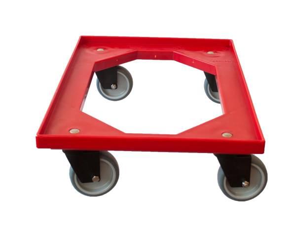 KSRO0009 Rolli  Kunststoff rot Euro-Kisten mit 4 Gummilenkrollen