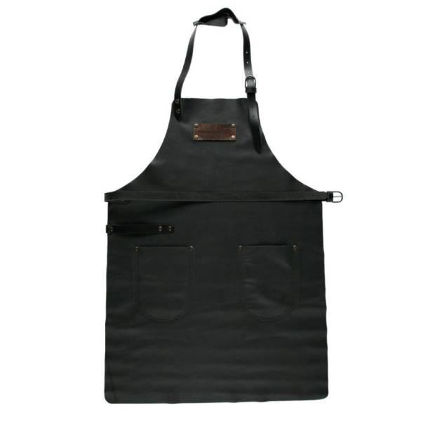 BESC0499 Grill Schürze aus Leder schwarz Gr.1  mit 2 Taschen