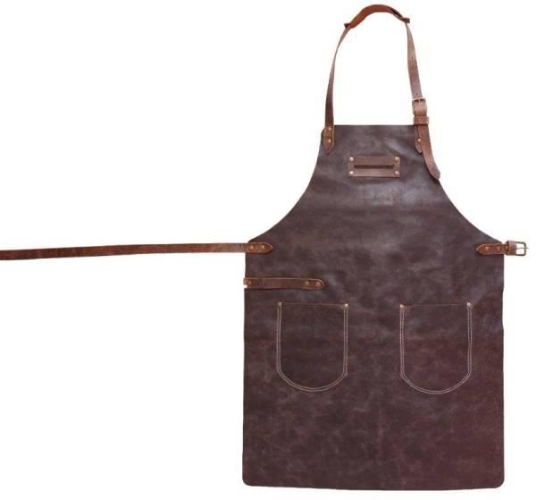 BESC0481 Grill Schürze aus Leder braun Gr.1 mit 2 Taschen