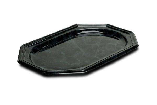 MVAV0047 Servierplatte Kunststoff 8-Eck schwarz marmo. 36x24 cm