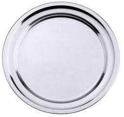 CNCO3423 Bratenplatte Edelstahl seidenmatt rund, Rand gebördelt D=27cm H=1,6cm