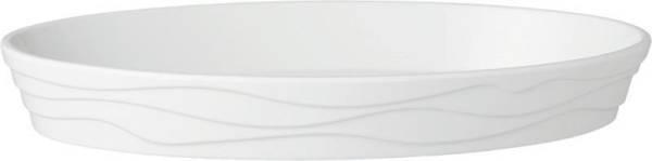 GBAS0287 Schale oval -Classic Wave- Melamin weiß, 34x21 cm, Höhe= 4,5 cm, 1,3 L