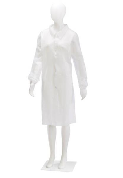 BEMA0272 Einwegbesuchermäntel weiß mit Kragen 4 Druckknöpfen Gr. XL