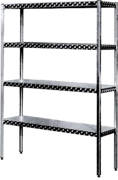 AMRE0023 Regal Edelstahl 1000x420x1800 mm 1 Bd. Beine, 4 Ablagen