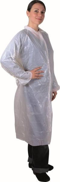 BEMA0356 PE Einwegmantel weiß mit Kragen und 4 Druckknöpfen L:115xB:75 cm 20µ