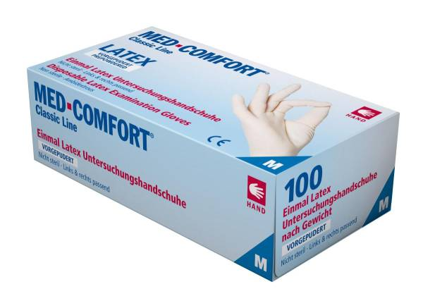 BEHA0082 Einweghandschuh Latex weiß S gepudert MED-COMFORT Karton=1000Stk