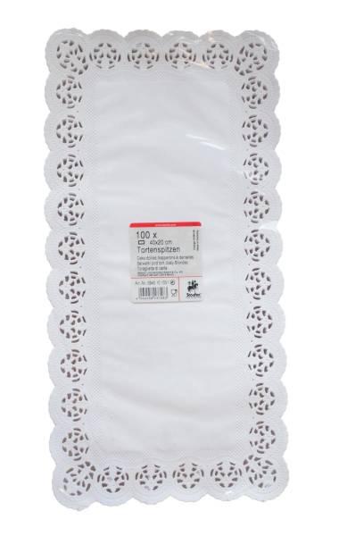 PVSO0040 Tortenspitzen rechteckig 40x20cm weiß Pack= 100 Stk